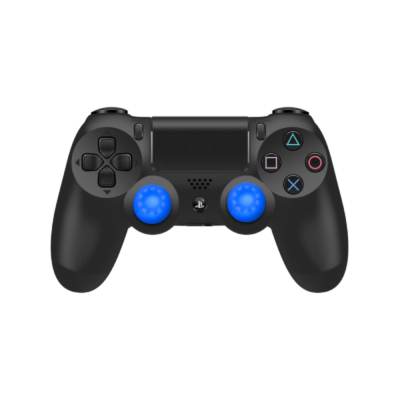 Blue Controller Grips on Black PS4 Controller