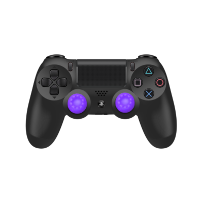 Purple Controller Grips on Black PS4 Controller