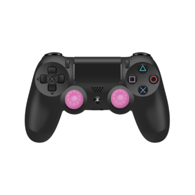 Pink Controller Grips on Black PS4 Controller